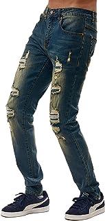Bleecker and Mercer Men's Flex Stretch Basic Slim Skinny Fit Denim Detail Design Jean Pants