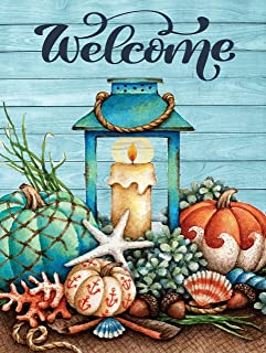 Starfish Wooden Summer Welcome Garden Flag 12x18 inch Double Sided Decorative Tropical Beach Shells House Yard Flags for S...
