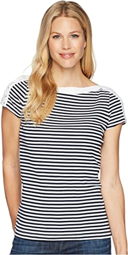 Lace-Up-Shoulder Striped Top