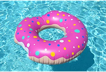 Coconut Float Sprinkled Donut Pool Float - Inflatable Ring Pool Float