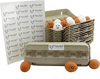 Cardboard Egg Cartons (18-Pack); Each for One Dozen, Eco-friendly Recycled Material Biodegradable 12-count Egg Cartons w/Labels