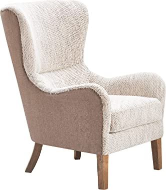 Tommy Hilfiger Warner Wingback Upholstered Accent Chair, Modern Farmhouse Reading High Back Armchair for Living Room, Two-Toned Fabric, Brown and Herringbone Beige