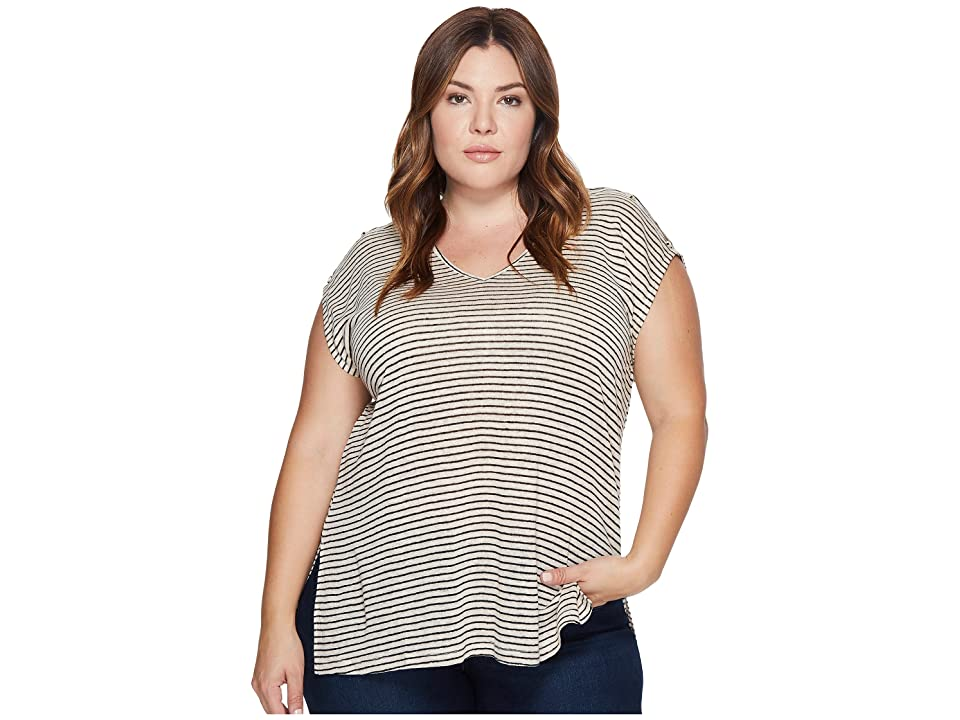 Lucky Brand Plus Size Linen Stripe Top (Natural Stripe) Women's Short Sleeve Pullover, Neutral