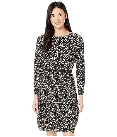 Sam Edelman Animal Print Plisse Dress (Black/Ivory) Women