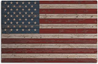 Lantern Press Distressed American Flag (12x18 Wood Wall Sign, Wall Decor Ready to Hang)
