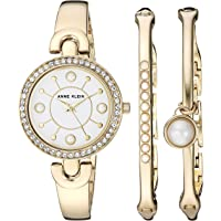Anne Klein Swarovski Crystal Accented Gold-Tone Women's Watch and Bangle Set