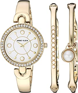 Anne Klein Women's Swarovski Crystal Accented Watch and Bangle Set, AK/3288