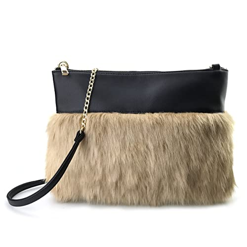 c513c3ca5 Two-tone Faux Fur And Texture Leather Shoulder Bag For Women