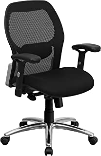 Flash Furniture Mid-Back Black Super Mesh Executive Swivel Chair with Knee Tilt Control and Adjustable Arms
