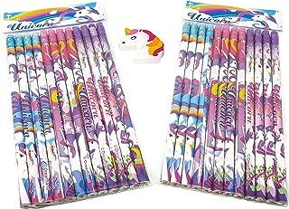 أقلام رصاص يونيكورن بوني عدد 24 قطعة بالإضافة إلى ممحاة حصان وحيد القرن - مجموعة كاملة من أدوات القرطاسية المهر اللطيفة لل...