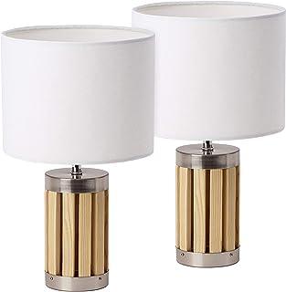 BRUBAKER - Lampe de table/de chevet - Lot de 2 - Design moderne - Hauteur 33 cm - Pied en Bois & Métal - Abat-jour en Tiss...