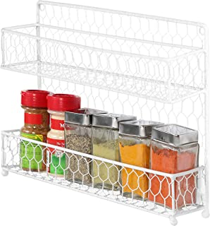 Country Style White Dual Tier Wire Kitchen Counter-top or Wall Mount Spice Rack Jars Storage Organizer