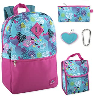 Trail maker 5 in 1 Full Size Character School Backpack and Lunch Bag Set For Girls (Hearts)