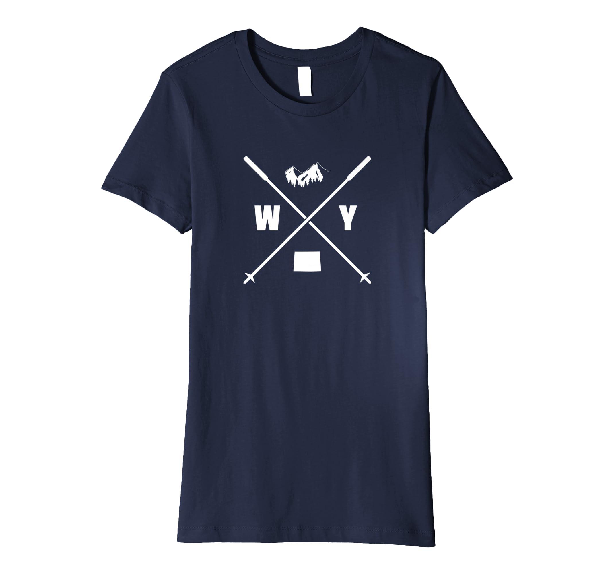 506bf062 Amazon.com: Ski Wyoming Slopes Vintage Skiing Mountains State Soft Shirt:  Clothing