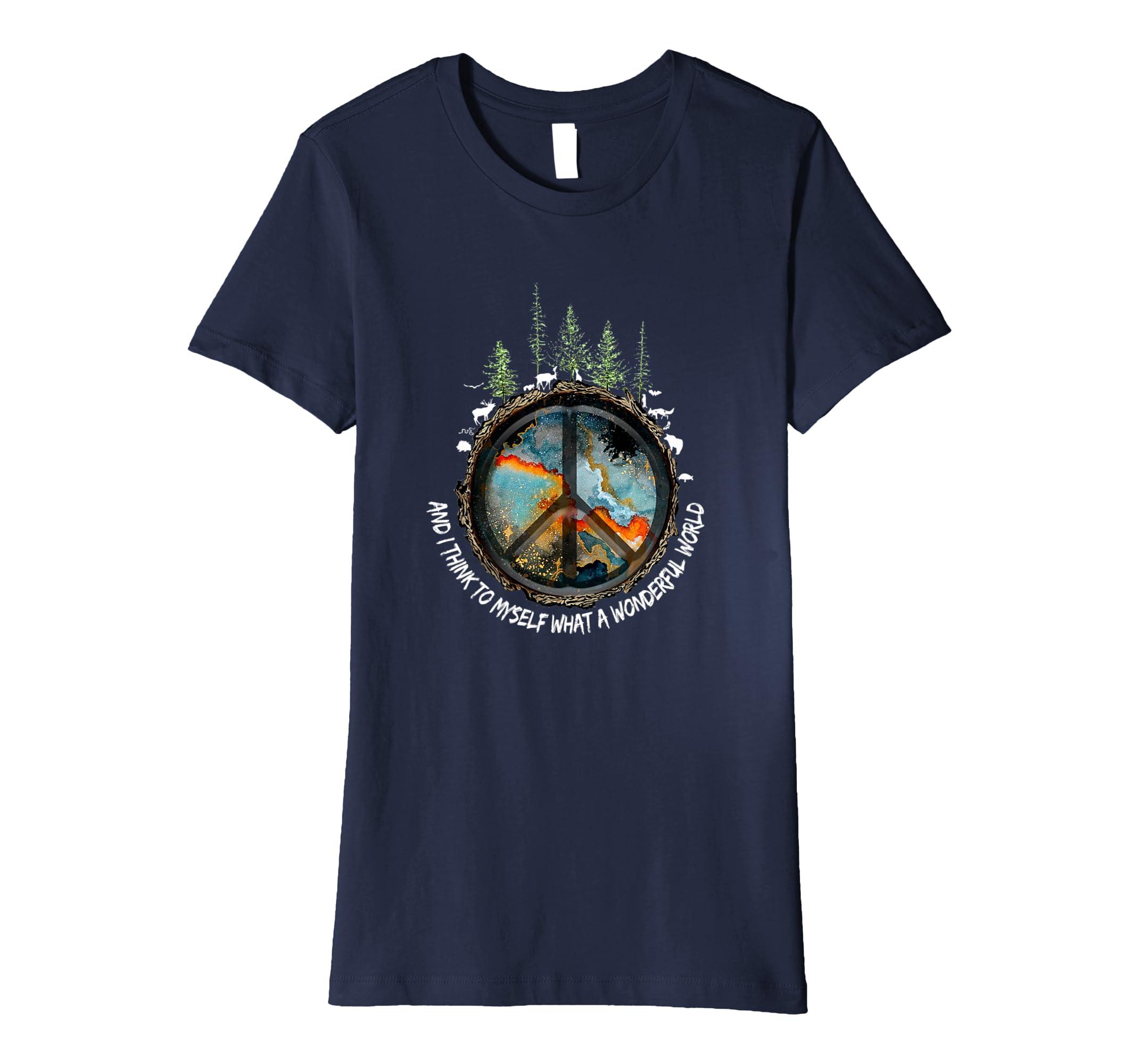 53f6ef8fcda Amazon.com  And I Think To Myself What A Wonderful World Hippie T-Shirt   Clothing