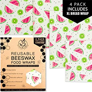 Beeswax Food Wraps | Assorted 4 Pack - S, M & L (Includes XL Bread Wrap) Reusable Organic Eco Friendly Natural Storage Alternative to Plastic. Wax wraps with Jojoba Oil | Kiwi & Watermelon