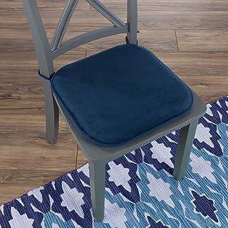 "Lavish Home 82-TEX1043NV Memory Foam Chair Cushion-Square 16""x 16.25"", 16x16.25, Navy"