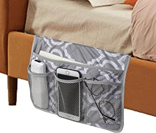 MDSTOP Bedside Caddy, Bedside Storage Bag, Under Couch Table Mattress Organizer, Fits for Book Tablet Magazine Phone Remotes Glasses (Grey)