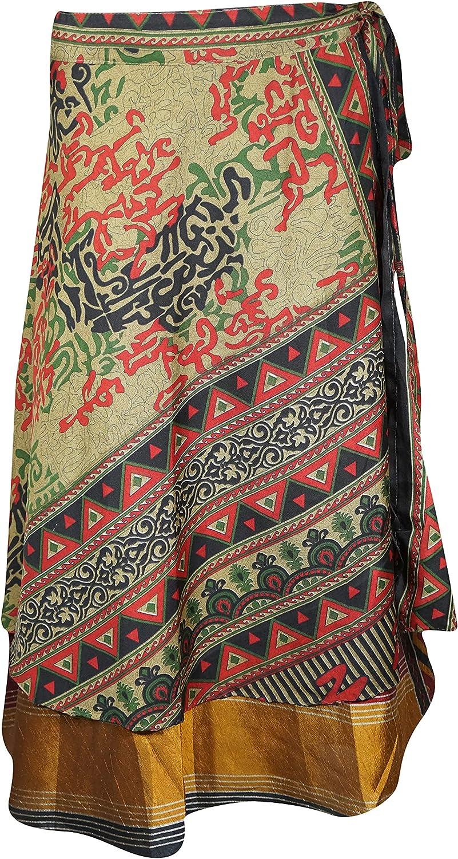Indiatrendzs Womens Wrap Skirt Green Black Indian Vintage Sari Skirt One Size