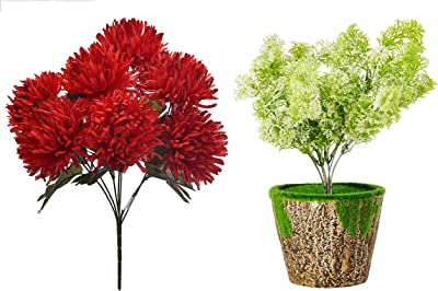 Fourwalls Beautiful Decorative Artificial Chrysanthemums Flower Bunch (45 cm Tall, 7 Heads, Red) + Artificial Polyester Water Grass Bunches with Pot (35 cm Tall, Light/Green)