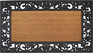 """A1 Home Collections A1HOME200029 A1HC Plain Rubber and Coir Large Heavy-Duty Outdoor Doormat, 23""""X38, Black Floral Border"""