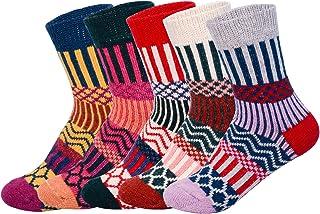 Calcetines de mezcla de lana para mujer, 5 unidades, varios diseños