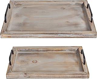 Besti Rustic Vintage Food Serving Trays (Set of 2) | Nesting Wooden Board with Metal..