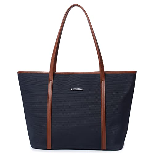 Desanissy Basic Medium Travel Tote Shoulder Bag for Women   Laptop Work Tote    Navy Blue bb7bbd8a57