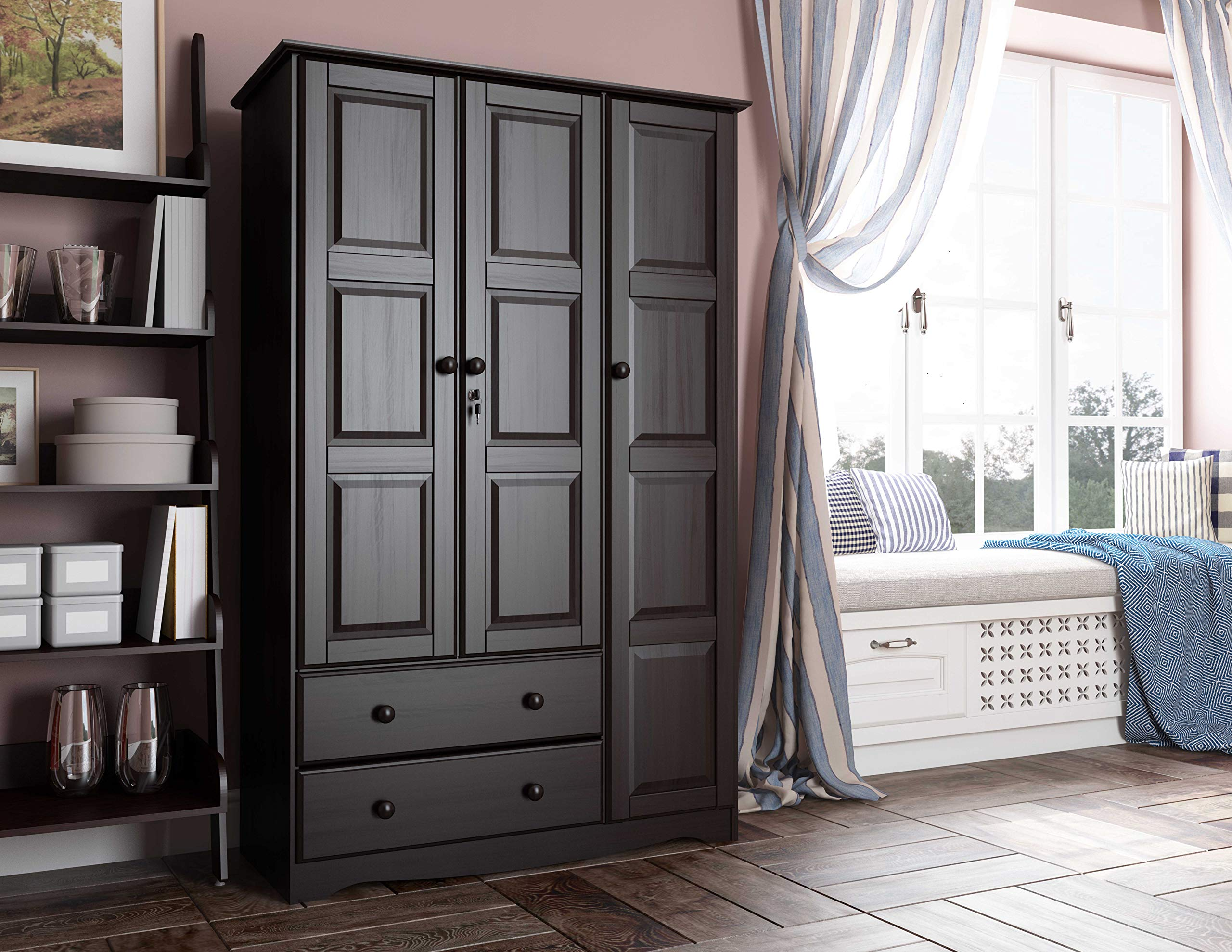 Amazon Com 100 Solid Wood Grand Wardrobe Armoire Closet By Palace Imports Java 46 W X 72 H X 21 D 4 Small Shelves 1 Clothing Rod 2 Drawers 1 Lock Included Additional Large Shelves