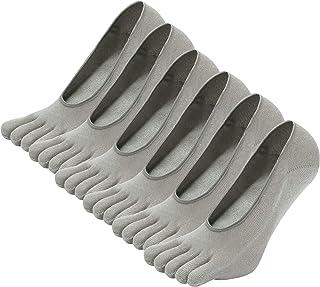 LOFIR, Calcetines Cortos de 5 Dedos para Hombres Calcetines Invisibles con Dedos Separados, Calcetines Tobilleros de Algodón de Deporte para Hombre, talla 39-44/45-48, 6 pares