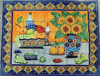 COLOR Y TRADICIÓN Mexican Talavera Mosaic Mural Tile Handmade Still Life Fruits & Sunflower Backsplash # 20