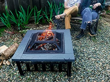 Yardom 34 inch Outdoor Fire Pits BBQ Square Firepit Table Backyard Patio Garden Stove Wood Burning Fireplace with Grill, Spar