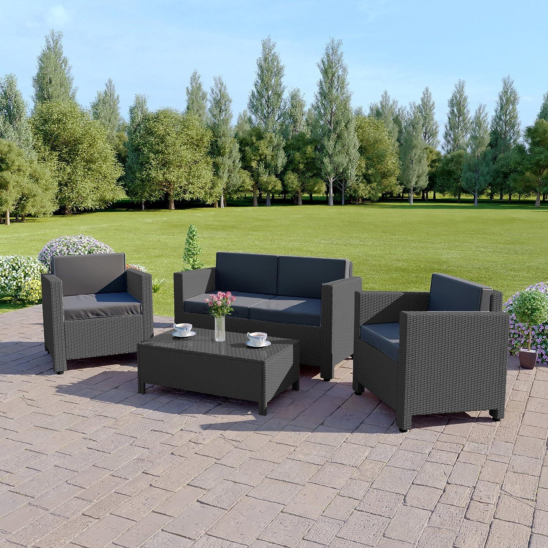 Abreo Roma 4 Seater Outdoor Garden Rattan Patio Set Conservatory Furniture Sofa Armchair Coffee Table Dark Grey With Dark Cushions Amazon Co Uk Kitchen Home