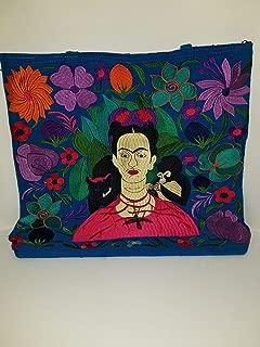 Frida Cotton Tote Market Bag Printed 16 SQ inch Folk Art Mexico Pouch Purse Mexican Painter