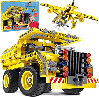 STEM Toys Building Sets for Boys 8-12 - 361 Pcs Construction Engineering Kit Builds Dump Truck or Airplane (2in1) STEM Bui...