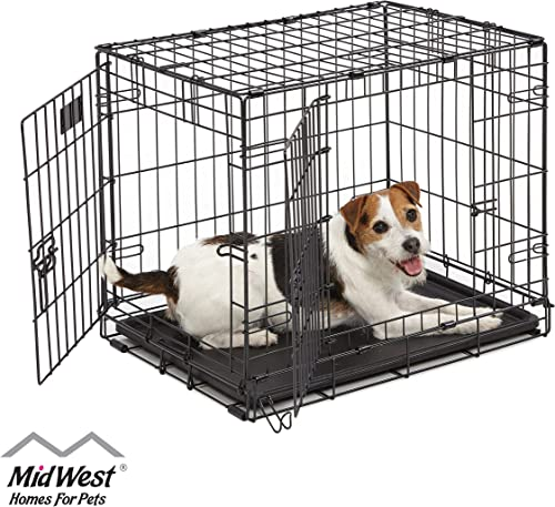"Dog Crate | Midwest ICrate 24"" Double Door Folding Metal Dog Crate w/Divider Panel, Floor Protecting Feet & Leak-Proo..."