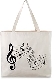 Reusable Canvas Bag - Attractive Tote Bag with Printed Music Theme. Durable with Double Stitch and Sturdy Shoulder Straps to Handle Music Lesson Books. Made in USA (Music)