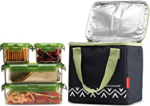Komax Lunchmate Bento Lunch Bag and Box Kit - 1 Insulated Bag with 4 Tritan Food Storage Containers - Dishwasher, Freezer ...