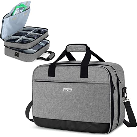 CURMIO Travel Carrying Case Compatible with Xbox One/ Xbox One X/ Xbox 360/ Xbox Series S, Portable Storage Bag Organizer for Xbox Game Console and Other Accessories, Gray (Patented Design)