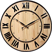 Infinity Instruments Wine Barrel Decorative Wall Clock, Natural Wood