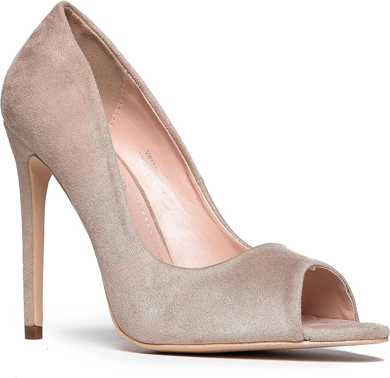 J. Adams Peep Toe High Heel Pumps - Party, Formal, Wedding, Bridal, Office Classic Heel - Open Toe Stiletto - Verse by