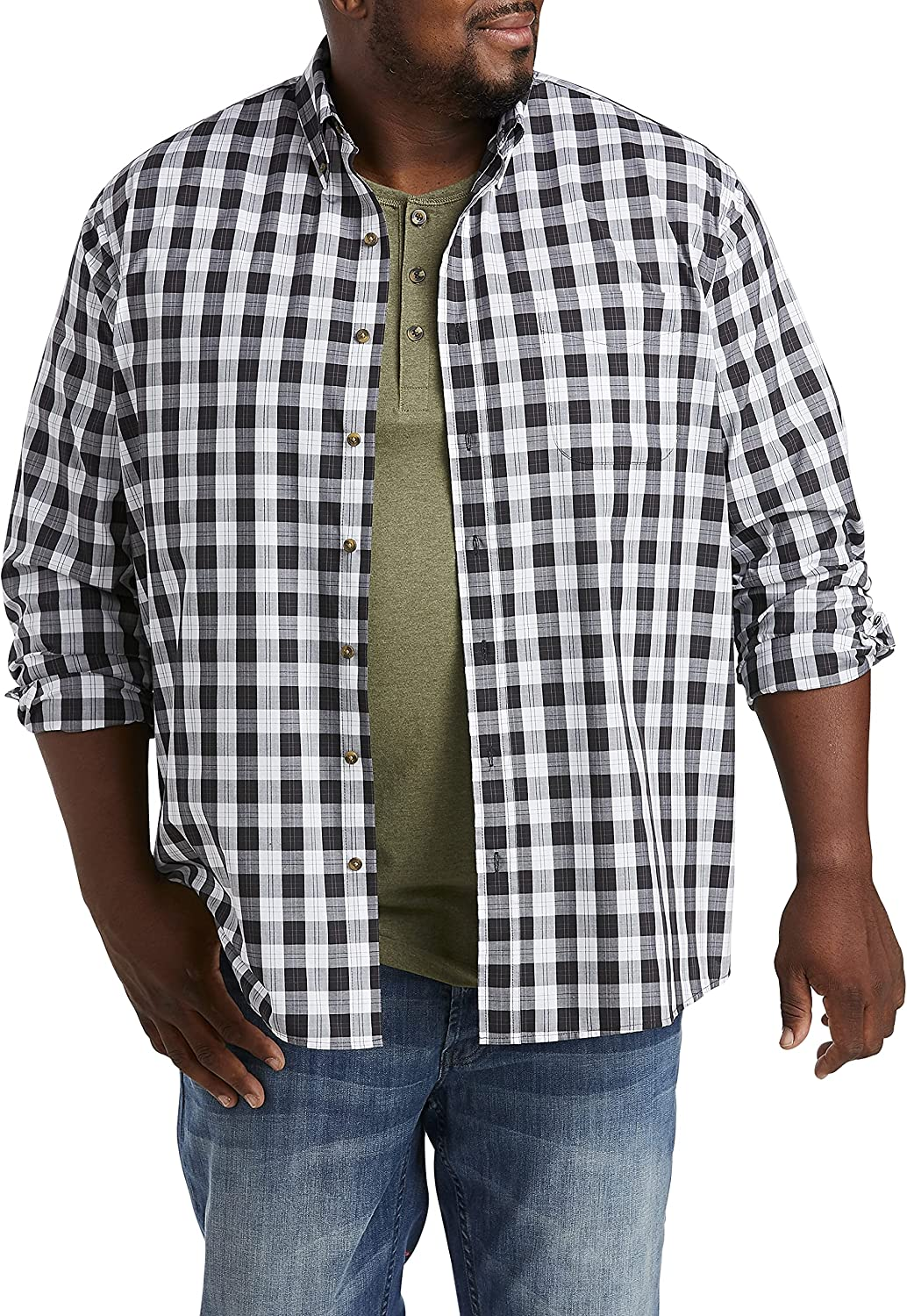 Harbor Bay by DXL Big and Tall Easy-Care Plaid Sport Shirt, Black