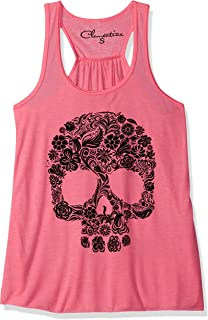 Clementine Women Floral Skull Graphic Flowy Racerback Tank