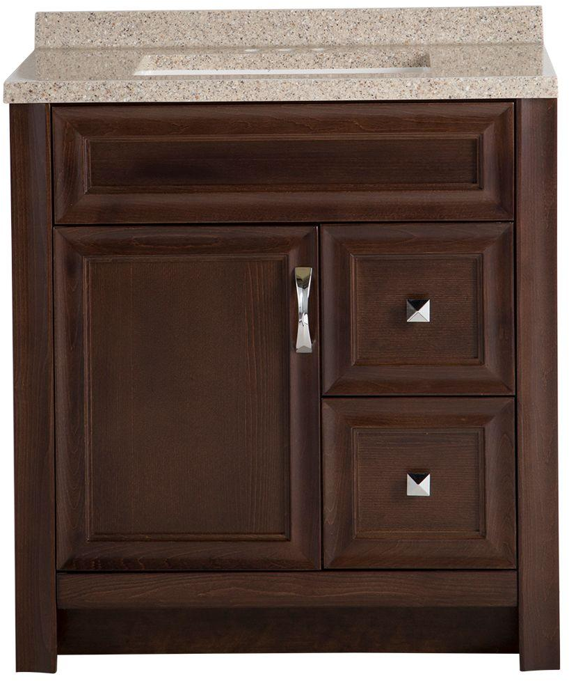 Glacier Bay Candlesby 30-1/2 in. W x 18-3/4 in. D Bath Vanity in Cognac with Solid Surface Vanity Top in Autumn - CD30P2-CG - The Home Depot