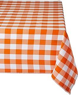 "LA Linen Rectangular Checkered Tablecloth 60"" x 108"", Orange and White"