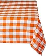 مفرش طاولة LA Linen مستطيل الشكل مقاس 152.4 سم × 274.4 سم، برتقالي وأبيض