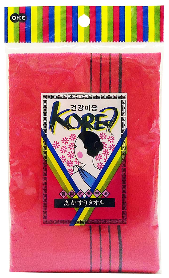 シロクマヒョウ郡オーエ KO(韓国式) あかすりタオル レッド