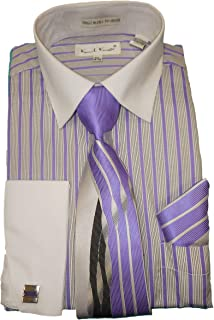 Karl Knox SX4358 Mens Lavender Purple White Stripe French Cuff Dress Shirt White Cuff/Collar