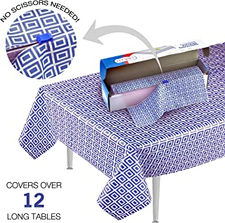 Blue Picnic/Party Plastic Tablecloth Roll, Disposable Picnic colored Table cloth On a Roll With Self Cutter Box,Cut Tablecloth To Your Own Table Size,Indoor/Outdoor, By Clearly Elegant …