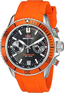 Seapro Men's Scuba Dragon Stainless Steel Quartz Watch with Silicone Strap, Orange, 22 (Model: SP0331)